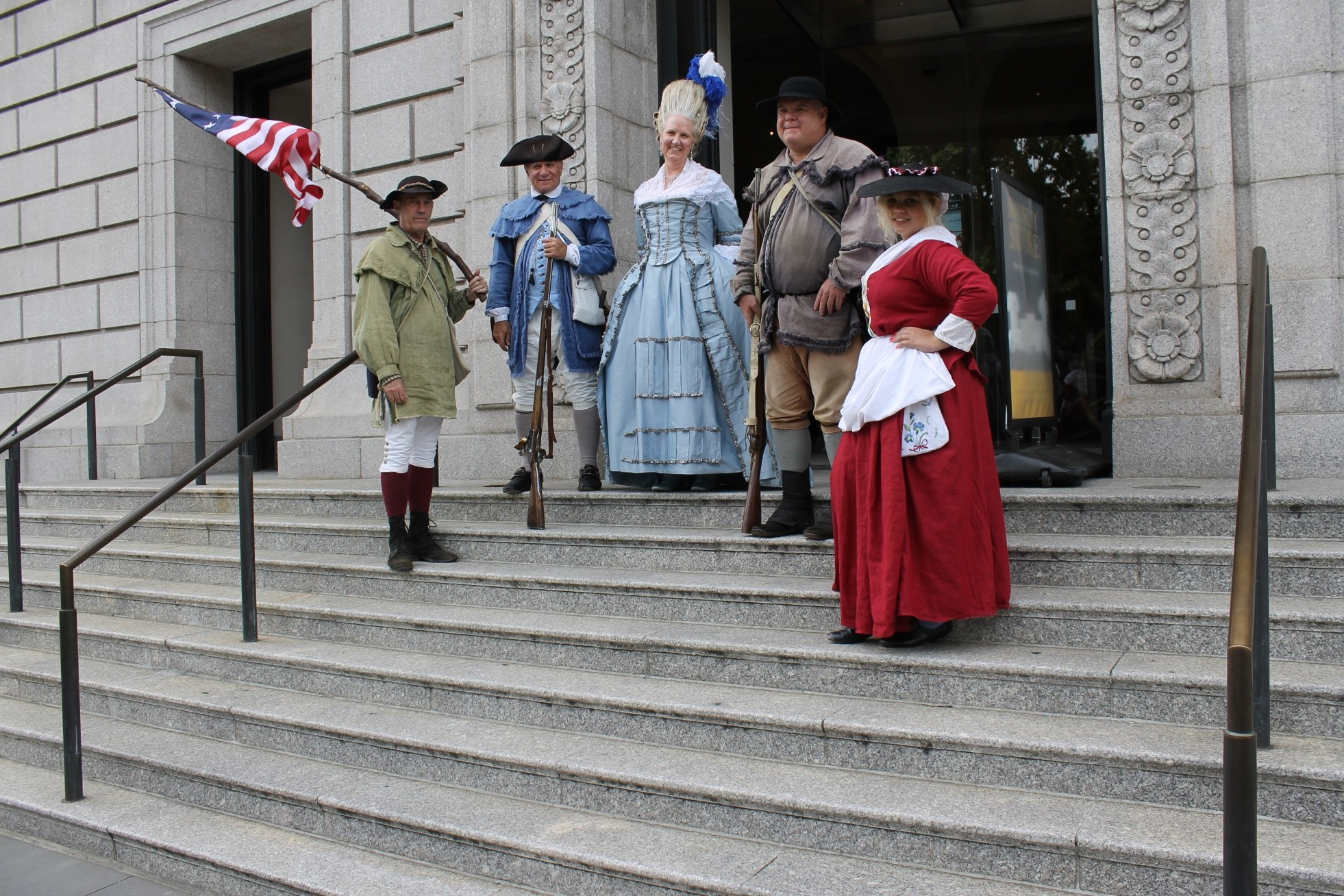 Dakota frequently conducts living history programs with her aunt, Mary Diaman (center).