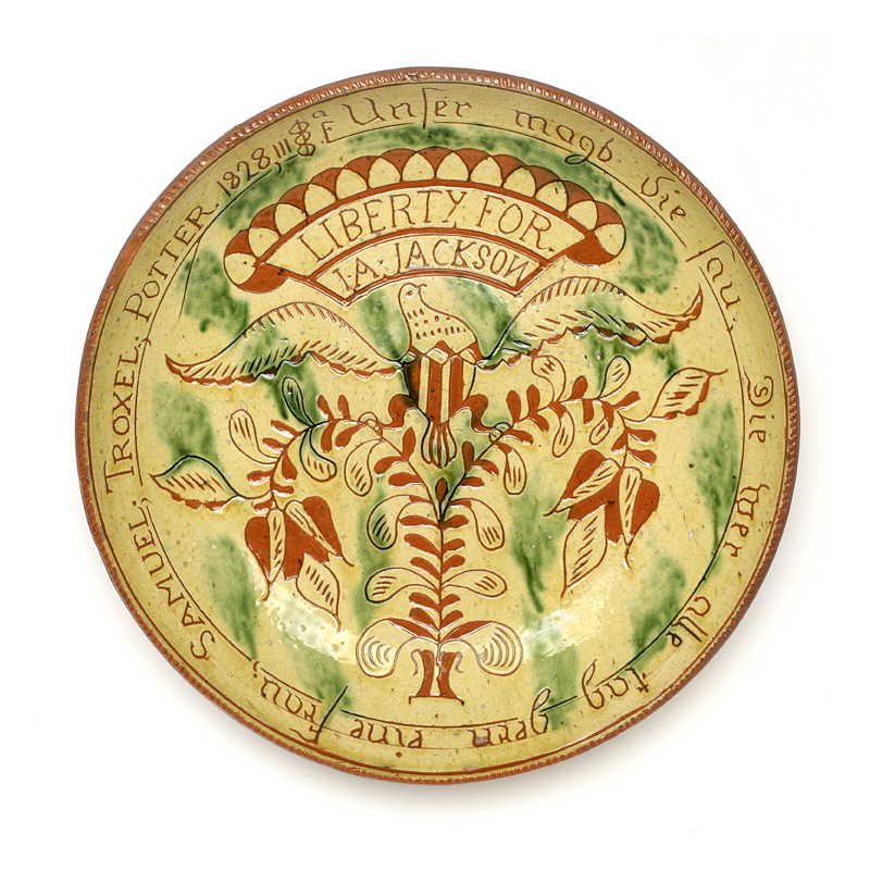 Samuel Troxell, Dish, 1828. Earthenware, Gift from Elie Nadelman, Collection of New-York Historical Society, 1937.708.