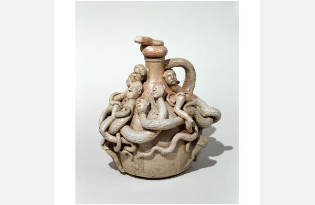 Anna Pottery, William Wallace, Cornwall Kirkpatrick, Snake Jug. Stoneware, Gift from Mrs. Thomas Nast, Collection of New-York Historical Society. 1906.6ab