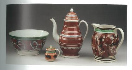 Unidentified English Maker. Bowl, Mustard Pot, Coffee Pot, and Pitcher, 1810–30. Lead-glazed Earthenware. New-York Historical Society, Z.2014;