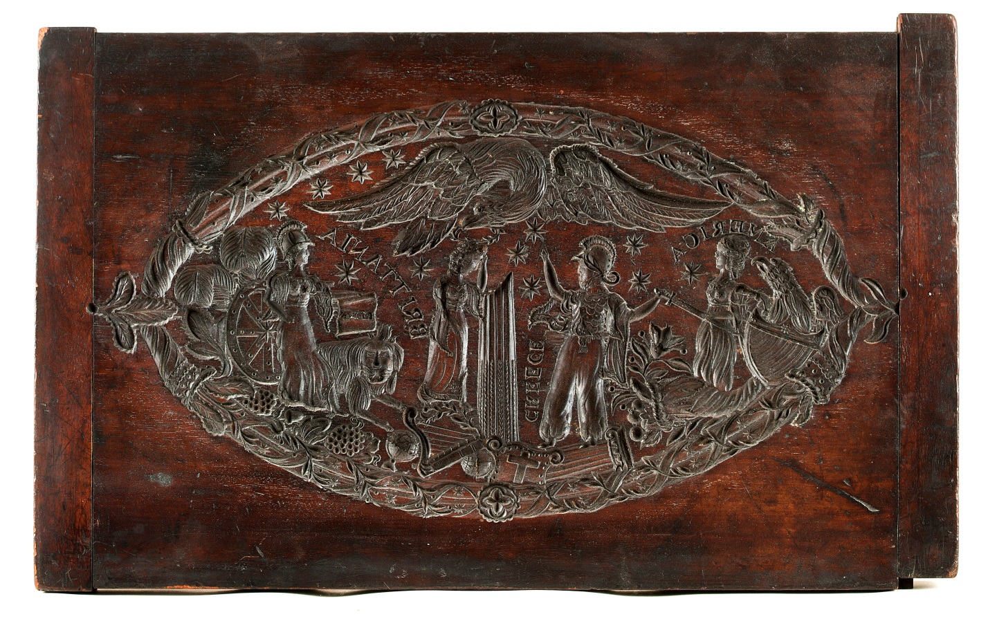 Unidentified American maker.  Cake print depicting an allegory of Greek independence, 1823–32.  Mahogany. New-York Historical Society.  INV. 1937.591
