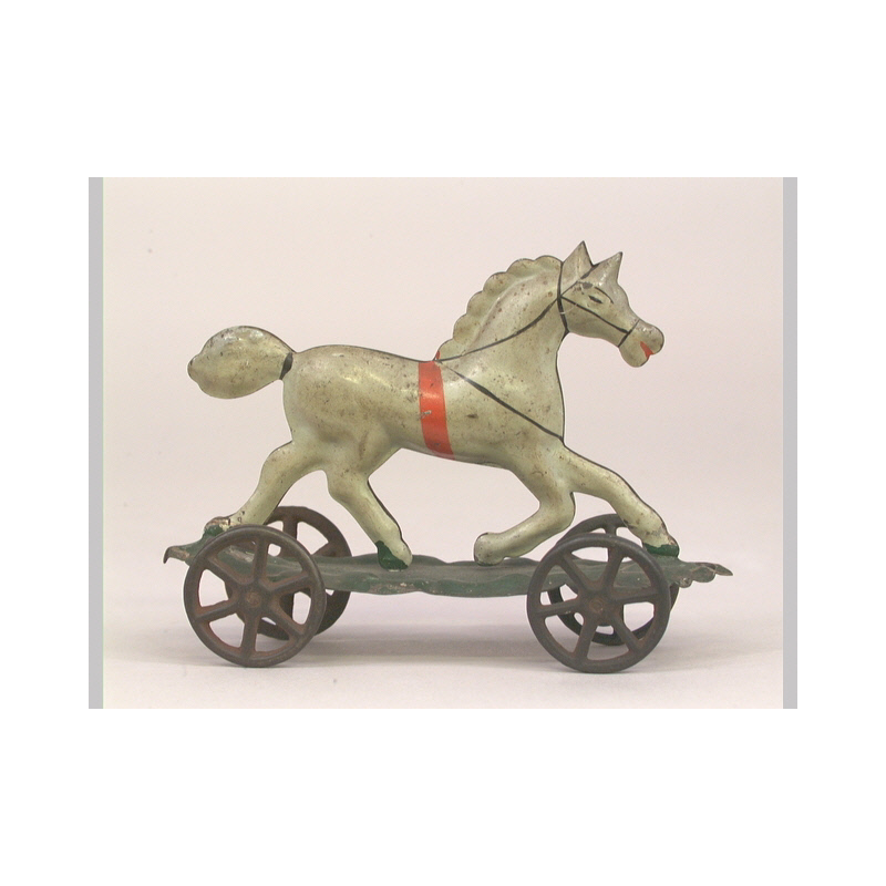 Unidentified maker, Pull Toy (horse), 1860-1890.  Iron, tin, paint, Collection of the New-York Historical Society. Z.291.