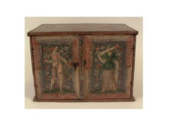 Unidentified European Maker.  Painted Boxes, Betrothal or marriage coffer, 1580-1660.   Wood, gesso, paint, silver pigment?, iron.  New-York Historical Society, INV. 8523