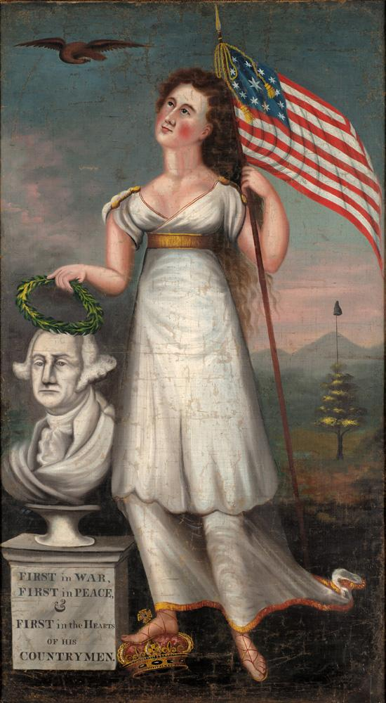 Unidentified maker, Lady Liberty and Washington window shade, ca. 1800-10. Oil on Canvas, Collection of Fenimore Art Museum, 535.1948