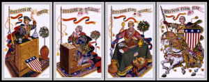 Arthur Szyk's Four Freedoms Stamps consist of a repeated sequence of four different stamps, which depict, from left to right, freedom of speech, freedom of religion, freedom from want, and freedom from fear.