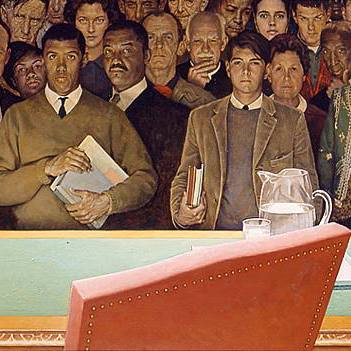 In The Right to Know, Norman Rockwell paints a cluster of people united and glaring at the viewer with a familiar and demanding gaze from in front of a United Nations desk.