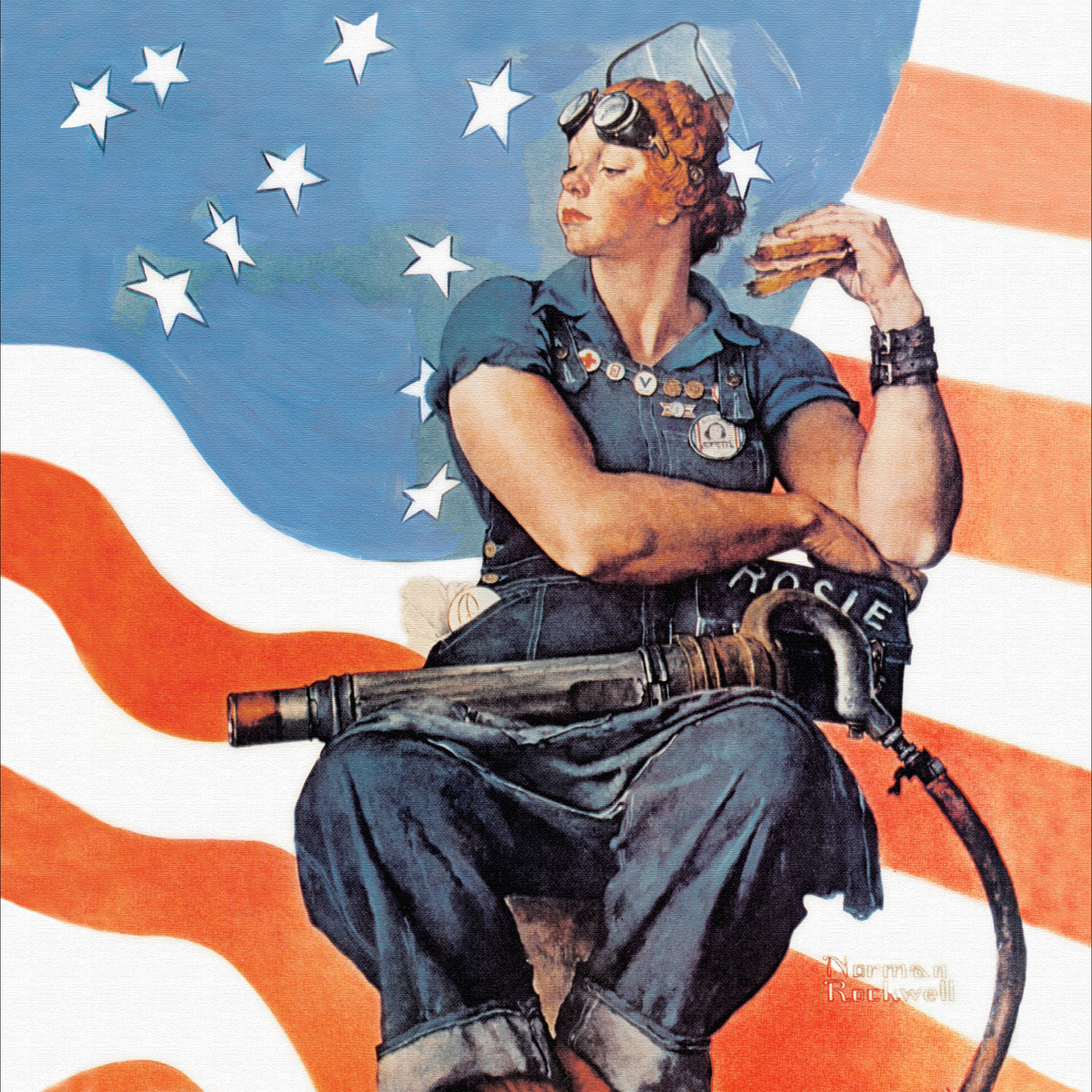 Rockwell depicts the iconic Rosie Riveter as a bulky figure seated in the center of the piece with shameless marks of her labor, such as the stains and grime on her skin and clothing. He illustrates Rosie with other stereotypically masculine features including her overalls and loafers, various organizational pins on her chest, the large rivet gun, and fierce grip on the lunch box. However, there are also contradictions to this masculine narrative: Rosie has nail polish and lipstick, a feminine high nose tip, and styled red curly hair.