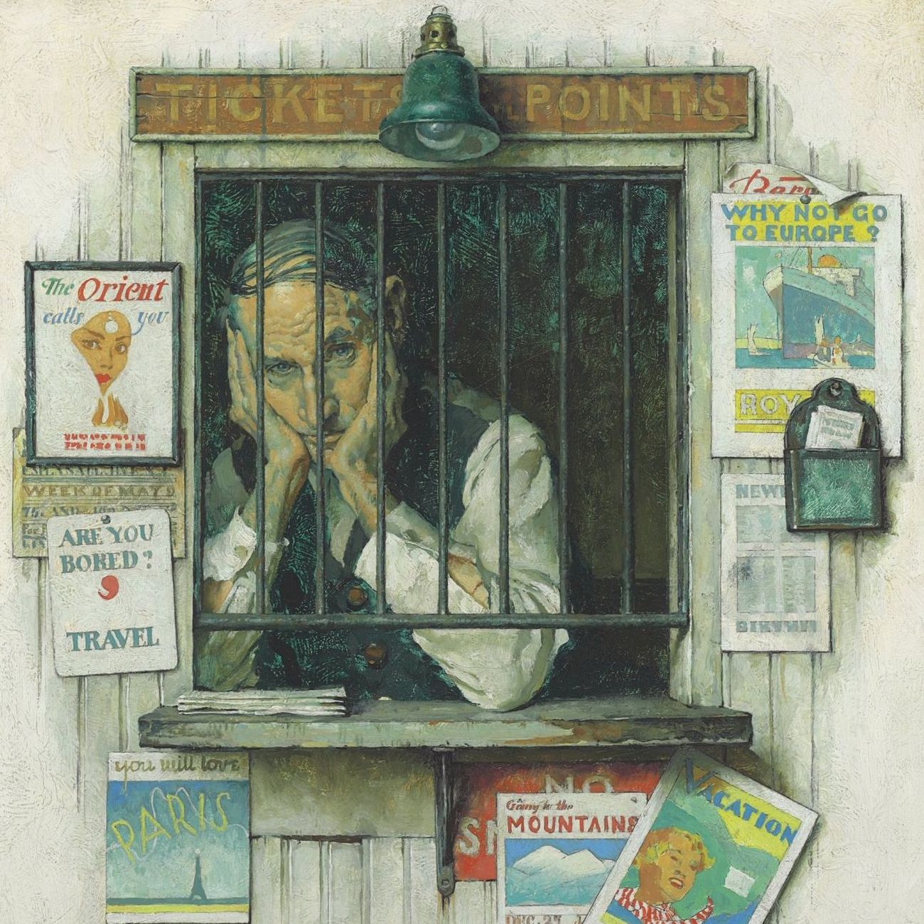 Normal Rockwell's painting, The Ticket Seller,depicts a morose man in a Ticket Agency surrounded by posters advertising travel destinations in Europe and around the world. Business is slow because travel was not as attainable during the Great Depression.