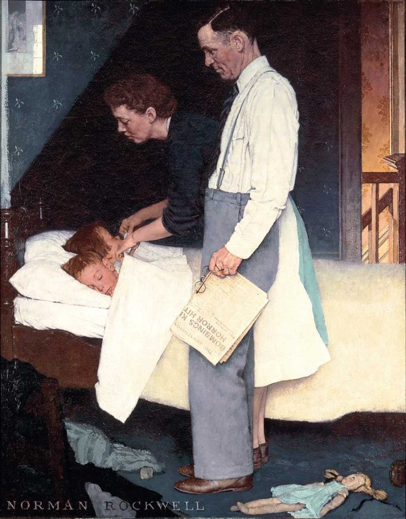 In this painting of Freedom from Fear by Norman Rockwell, a man and a woman tuck their two children into bed. The father carries a newspaper with foreboding headlines, but the children sleep peacefully.