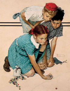 This painting by Norman Rockwell depicts three children playing marbles. They are crouch before a curved line drawn on the ground. All three are looking intently at a marble in the girl's hand as she confidently prepares to launch it into the center of the circle.
