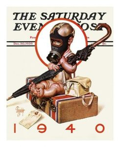 Baby New Year Ready for War is a magazine cover for The Saturday Evening Post by J.C. Leyendecker depicting a blue-eyed, blonde-haired baby sitting on top of a suitcase with British flag colors, along with a small satchel. The baby looks up through a gas mask, while clutching an umbrella.