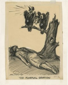 """In this cartoon called The Funeral Oration, Hugh Hutton depicts two carrion birds perched on a tree overlooking a facedown woman clad in white. The woman is labeled """"Poland,"""" while one bird bears a Nazi swastika, the other— a Soviet hammer and sickle."""