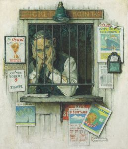 Normal Rockwell's painting, The Ticket Seller,depicts a morose man in a Ticket Agency surrounded by posters advertising travel destinations in Europe and around the world.