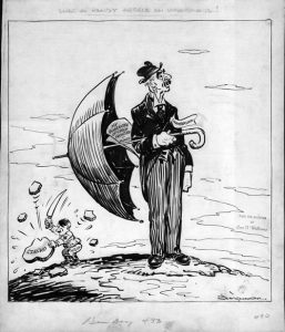 """A political cartoon captioned """"What a handy article an umbrella is!""""  and depicting a man holding an umbrella while a Hitler-esque figure in the background hacks at a piece of stone labeled """"Czecho"""" to illustrate Chamberlain's policy of appeasement"""