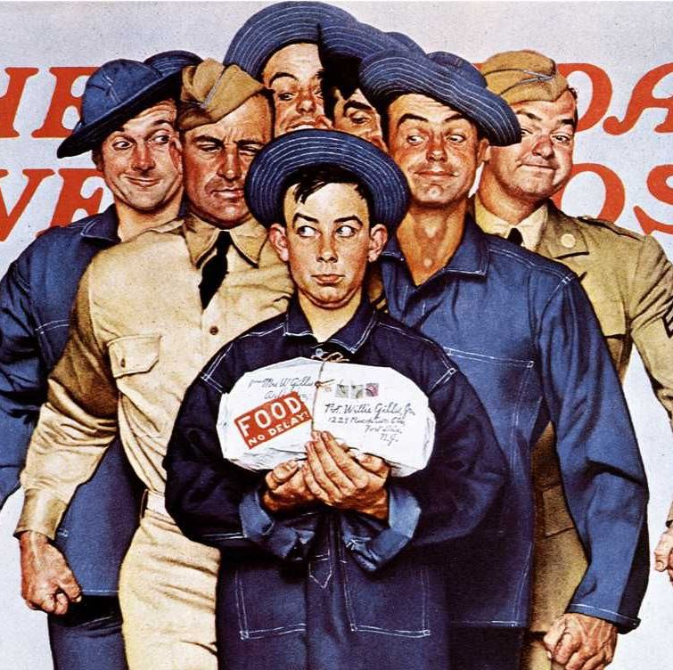 This painting, created October 4, 1941, on the eve of American involvement in World War II, depicts a young private by the name Willie Gillis receiving a food package. Behind him are a group of older, larger soldiers. By the stripes on their sleeves we can tell many of them are higher ranking than the young private. The soldiers are eyeing the food package with what is clearly somewhat malicious intent. The exaggerated facial expressions, juxtaposition of young Willie with the older soldiers, and the use of bright colors all work together to create a lighthearted and comical atmosphere in the piece.
