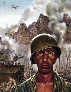 """The Marine, unnamed, stares """"That 2,000 Yard Stare"""" at the audience, his eyes gazing gazlessly at everything and nothing. He is frozen, his mouth half-open, for us to wonder if he considers speaking, considers crying, considers calling, or does not even realize himself."""